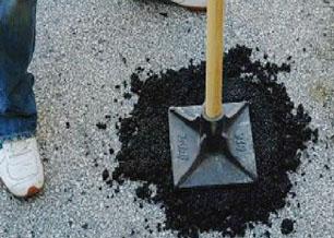 山东日照道路坑槽填补现场施工